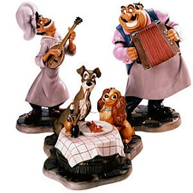 WDCC Disney Classics_Lady And The Tramp Joe, Tramp, Lady &  Tony Bella Notte